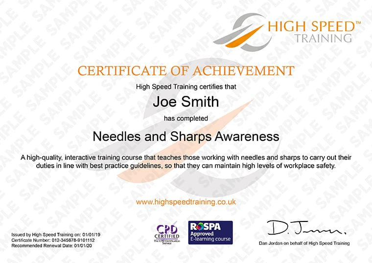 Needles and Sharps - Example Certificate