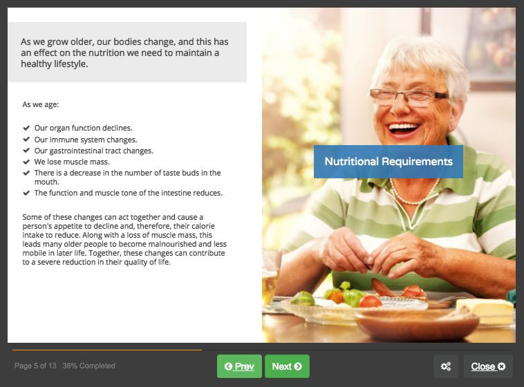 Screenshot 01 - Nutrition for the Elderly
