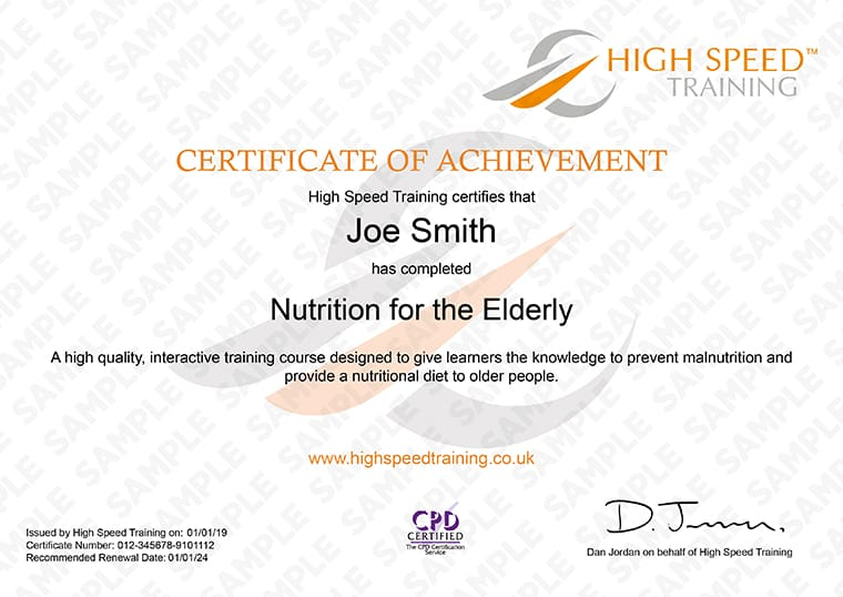 Nutrition for the Elderly - Example Certificate