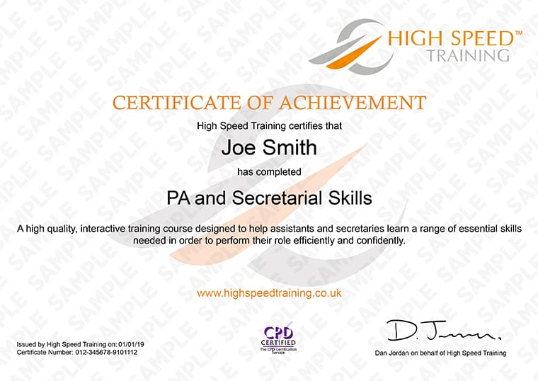 PA and Secretarial Skills - Example Certificate