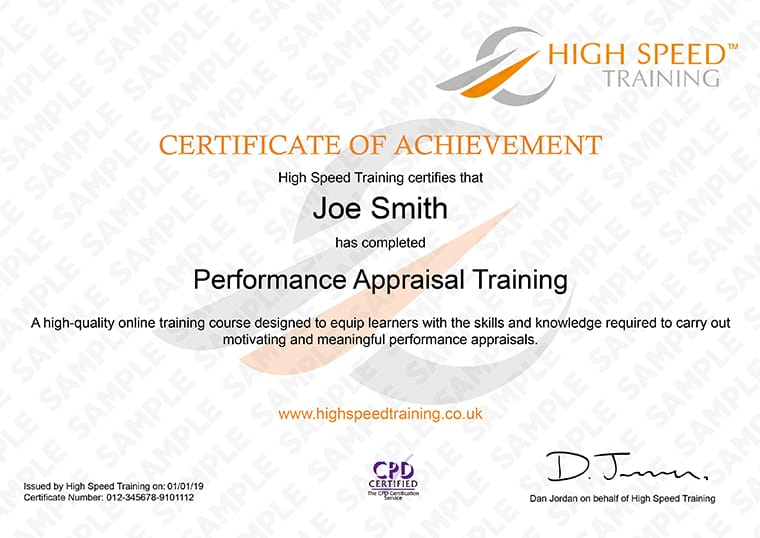 Performance Appraisal - Example Certificate