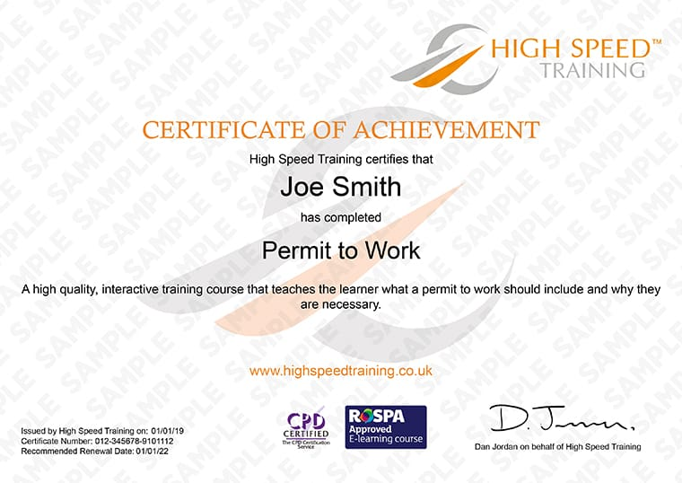 Permit to Work Training - Example Certificate