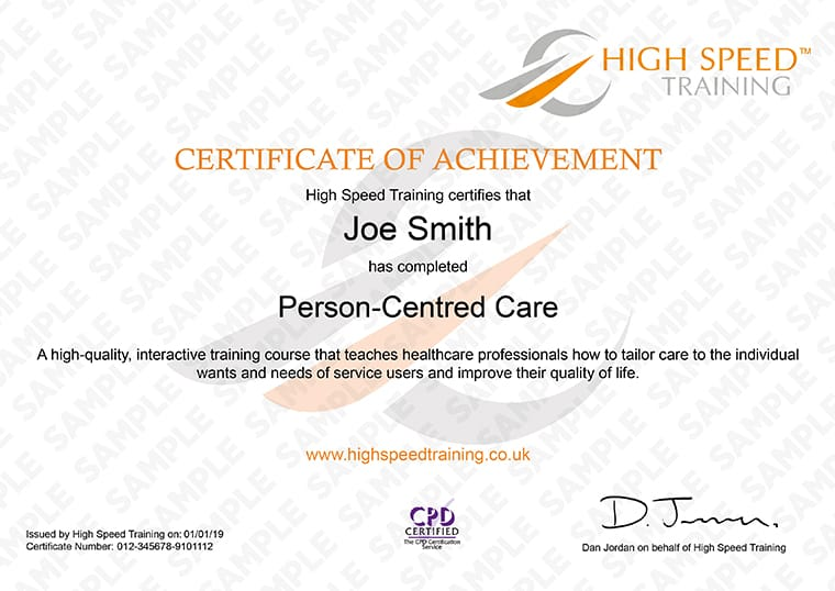 Person-Centred Care - Example Certificate
