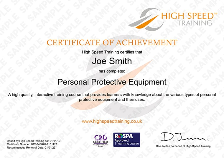PPE - Example Certificate