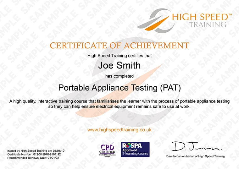 PAT training - Example Certificate