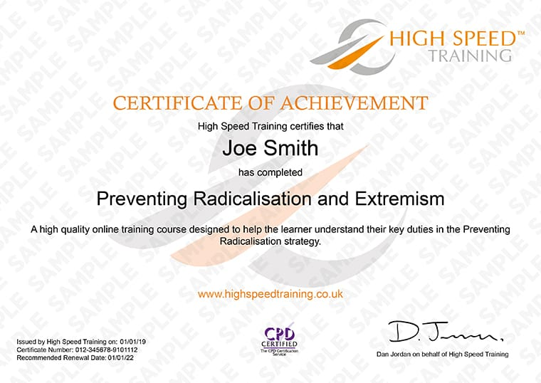Preventing Radicalisation and Extremism - Example Certificate