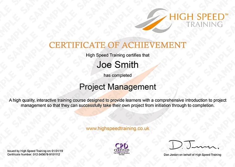 Project Management - Example Certificate