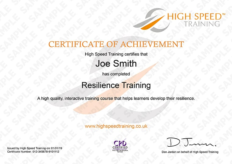 Resilience Training - Example Certificate