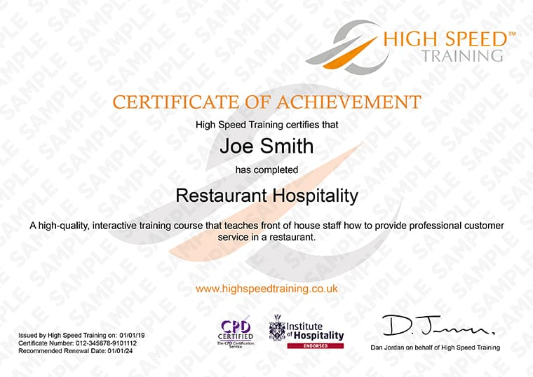 Restaurant Hospitality - Example Certificate