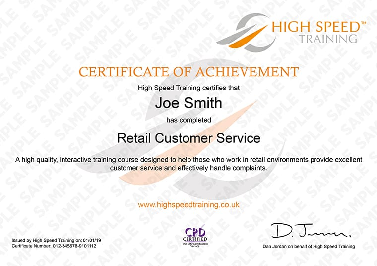 Retail Customer Service Skills - Example Certificate