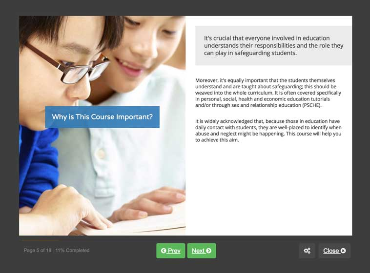Screenshot 01 - Safeguarding Children in Education