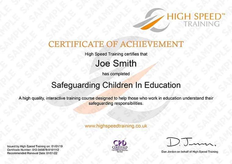 Safeguarding Children in Education - Example Certificate
