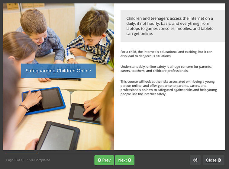Screenshot 01 - Safeguarding Children: Internet Safety