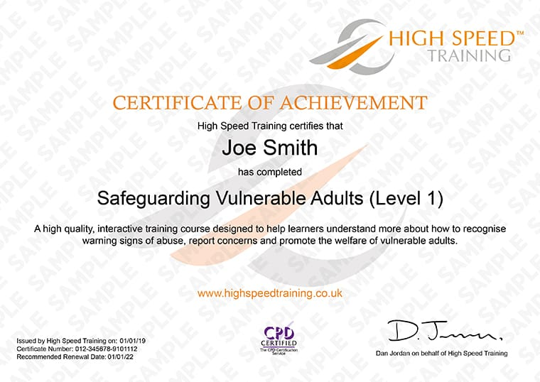 Safeguarding Vulnerable Adults - Example Certificate