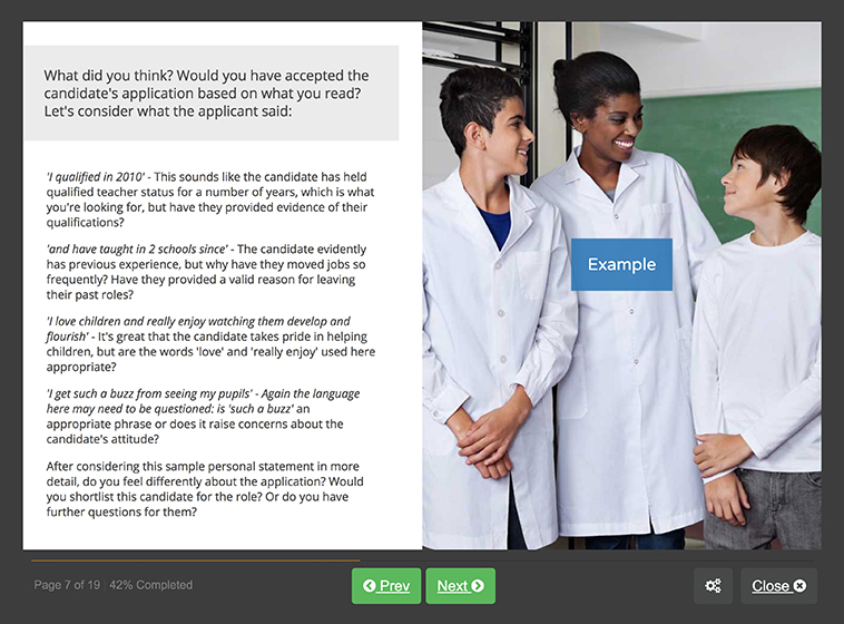 Screenshot 03 - Safer Recruitment in Education