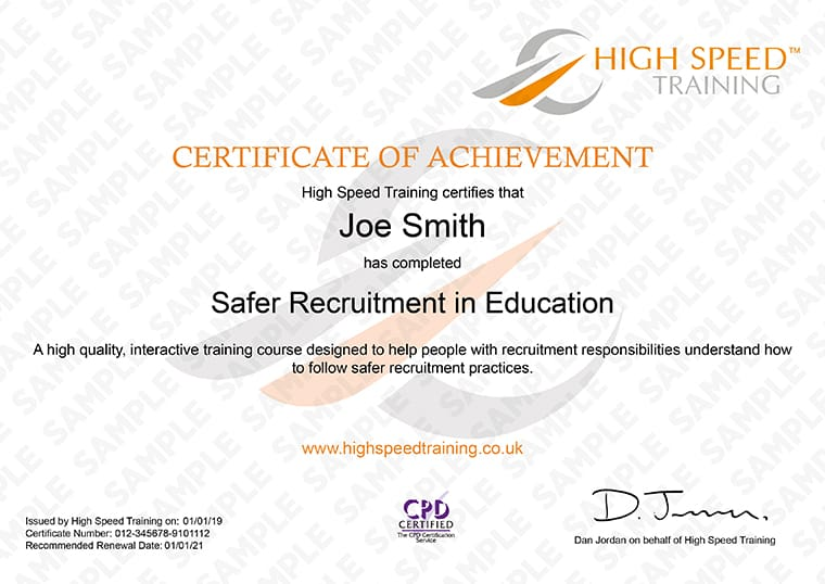 Safer Recruitment in Education - Example Certificate