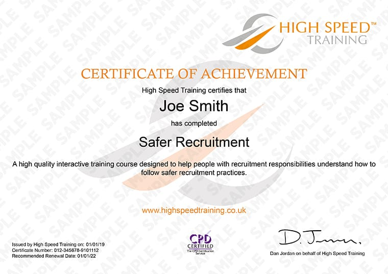 Safer Recruitment - Example Certificate