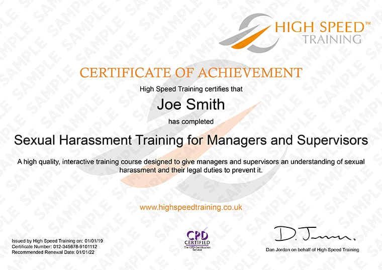 Sexual Harassment for Managers and Supervisors - Example Certificate