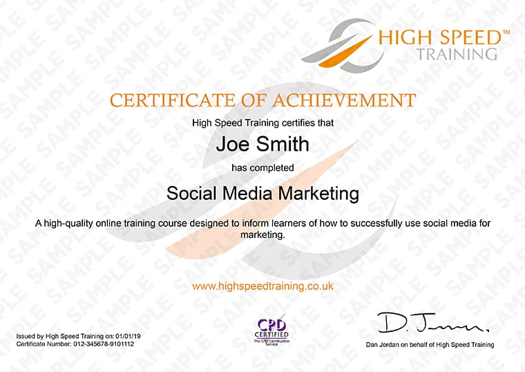 Social Media Marketing - Example Certificate