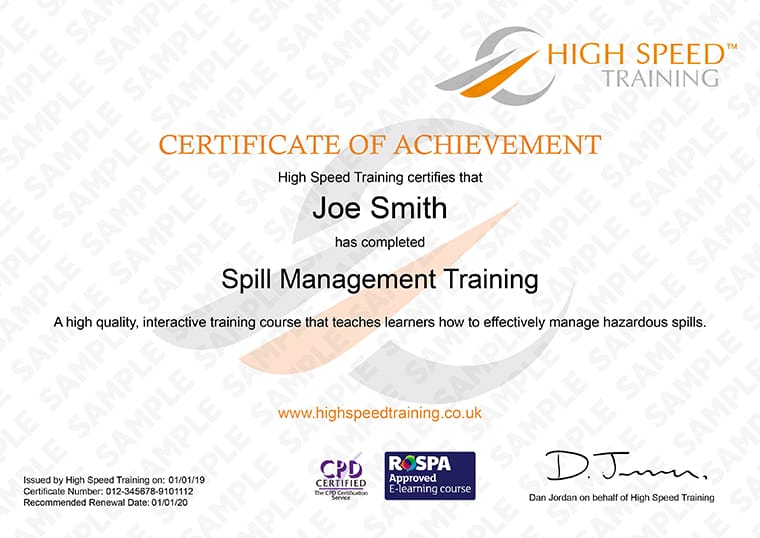 Spill Management Training - Example Certificate