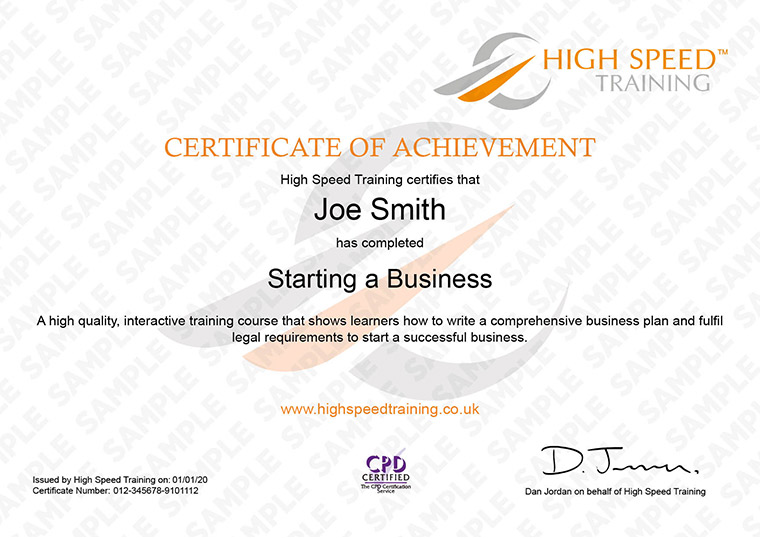 Starting Your Own Small Business  Online Course Starting A Business  Example Certificate