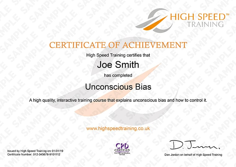 Unconcious Bias Training - Example Certificate