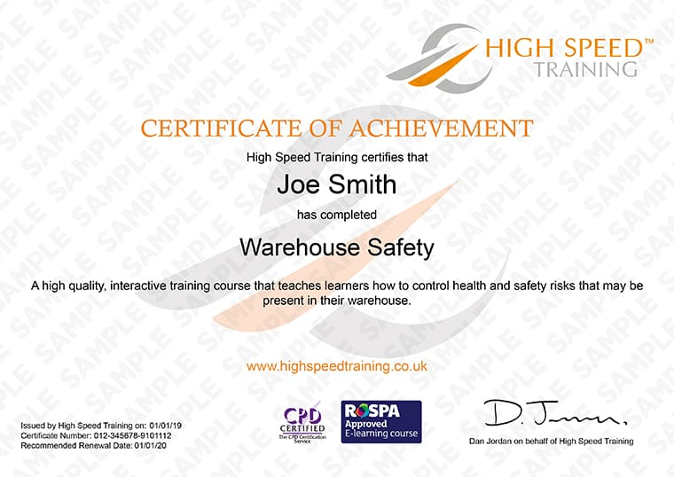 Warehouse Safety - Example Certificate