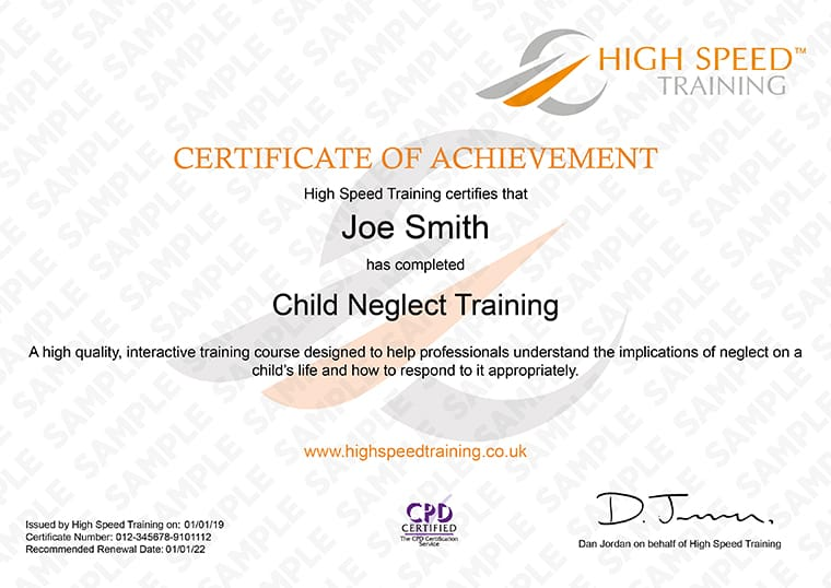 Working with Issues of Child Neglect - Example Certificate