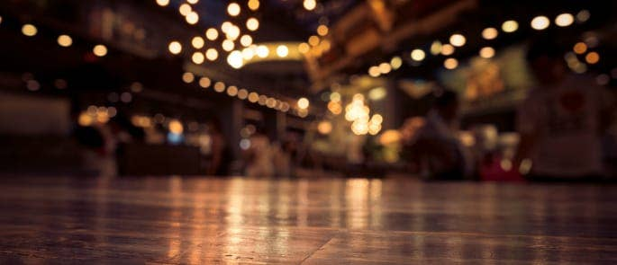 Floor in a restaurant blurred vision