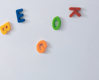 magnetic letters on fridge