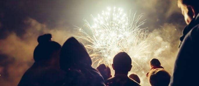 bonfire party fireworks crowd