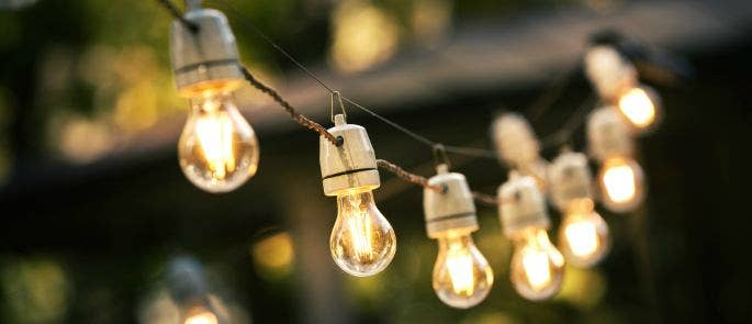 A string of hanging light bulbs at a BBQ event