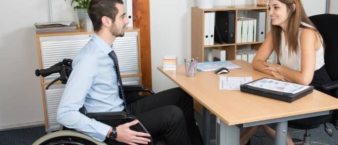 Worker with disability attending an interview