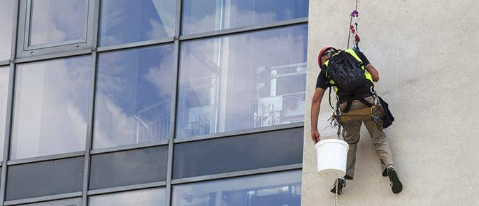 Window cleaner working at height