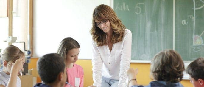 teacher in the classroom with young children