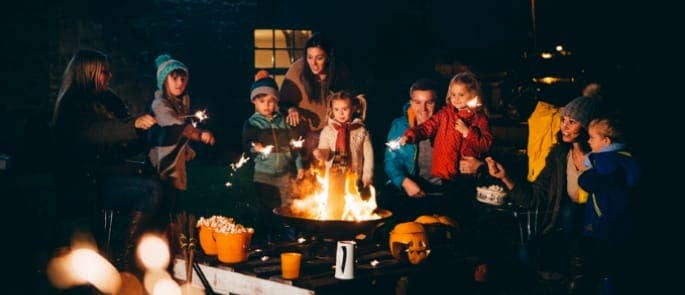 family bonfire night fireworks sparklers