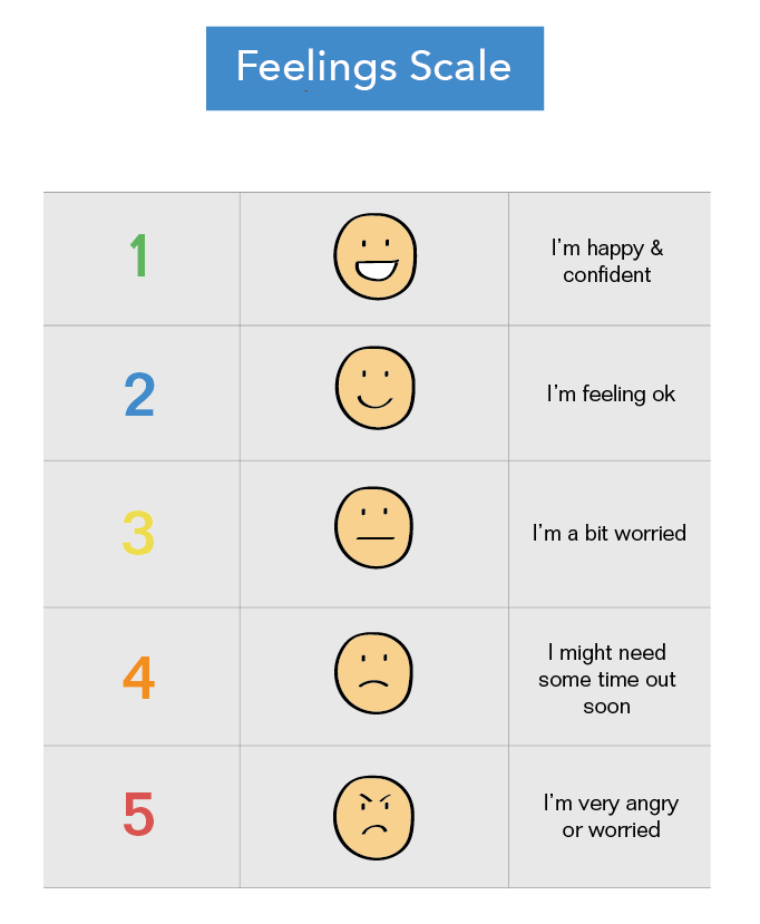 Image of an example Autism Feelings Chart for parents and teachers
