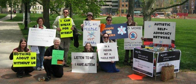 Picture shows a neurodiversity protest against Autism Speaks