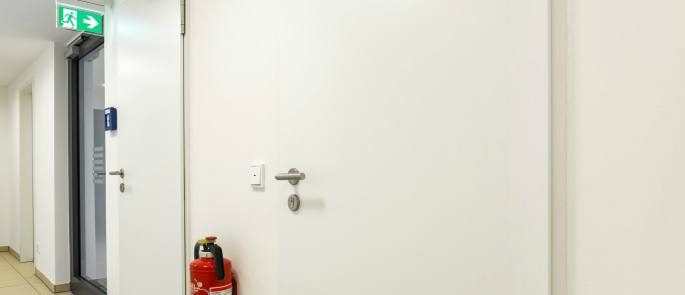 fire exit and extinguisher