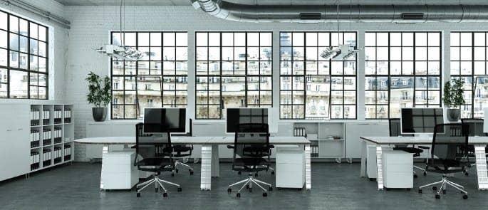 bright office lighting