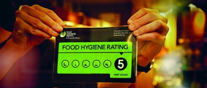 A number 5 rating on the Food Hygiene Rating Scheme