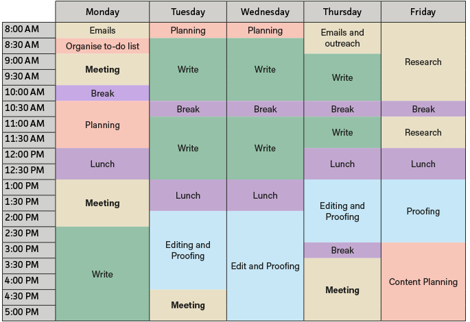 time management schedule template for students