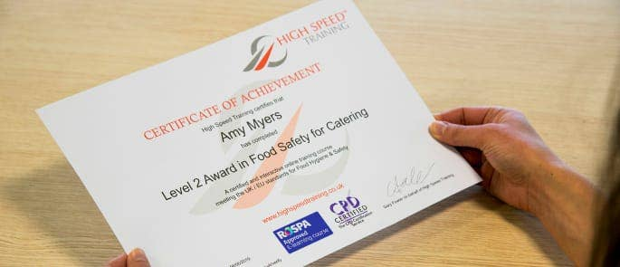 Photo of a Food Hygiene Certificate from High Speed Training Limited