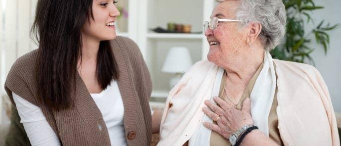 carer and elderly talking