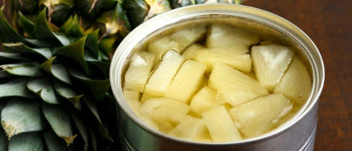 An open can of pineapple