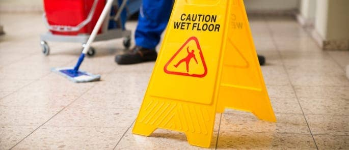 wet floor slip trip fall risk