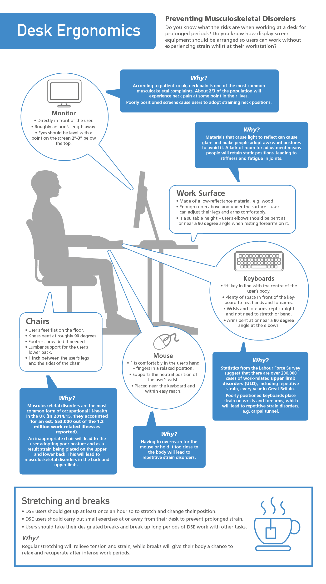 Desk Ergonomics Correct Setup Diagram Infographic Pdf