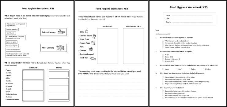 picture about Food Safety Printable Worksheets titled Foods Cleanliness Worksheets for Little ones inside of KS1, KS2 KS3