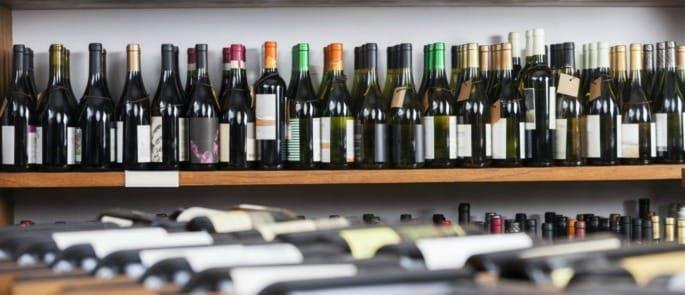 Wine bottles in a wine shop