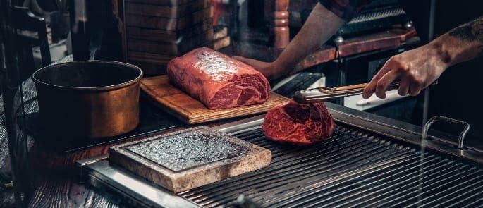 searing and shaving beef